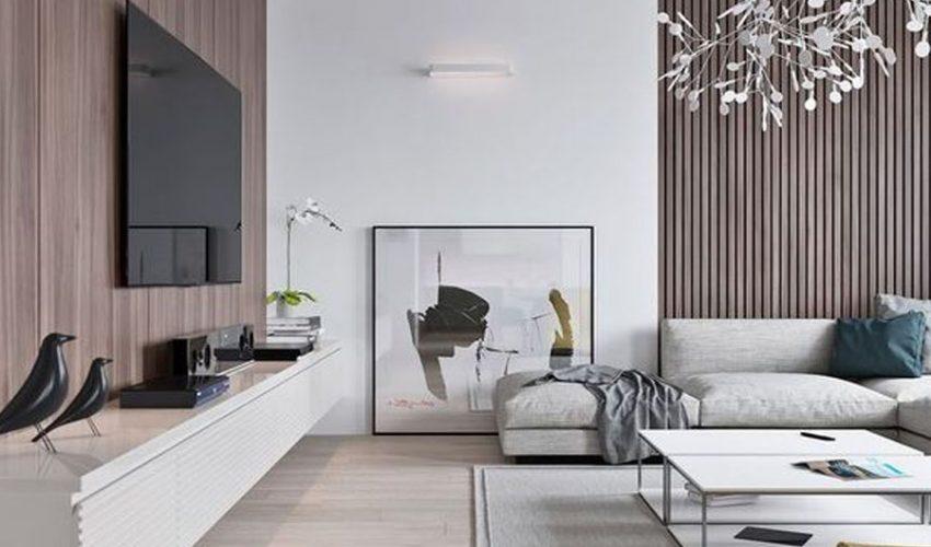 Tấm ốp gỗ nhựa trang trí phòng khách